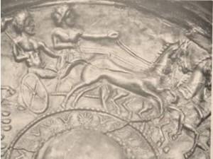 Detall d'un plat d'orfebreria ibèrica trobat a Tivissa