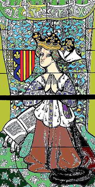 Violant, representada en un vitrall de la Catedral de Mans.