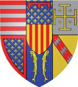 Escut d'armes de Renat I, amb les armes catalanes rebudes per la seva mare.