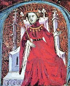 Martí I l'Humà, de Catalunya i Aragó, oncle de Violant. Miniatura dels Privilegis de la Cartoixa de Valldecrist.