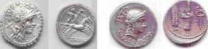 Denari republicà de la família Coscònia de 3,25 g. - Denari de la família Norbana, 3,41g.