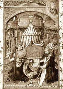 Salteri i Llibre d'Hores d'Alfons el Magnànim, conservat a la British Library. Acabat el 1443. Pag.3 (fol.14v).