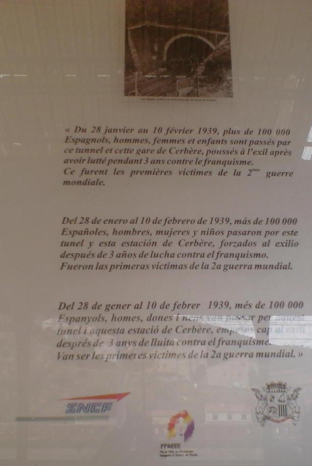 Placa a l'estació de Cerbère.