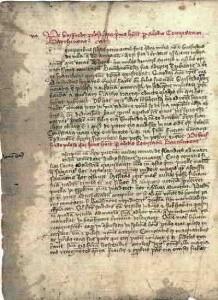 "Gesta Comitum Barchinonensium, amb la Llegenda de Guifré el Pilós ""De Guiffredo pilose""."